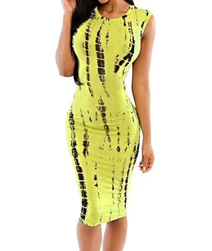 Womens Sexy Tie Dye Print Sleeveless Back Cutout Midi Dress (Large, Yellow)