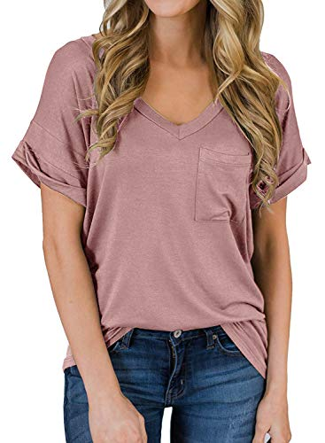 (MEROKEETY Women's Summer V-Neck Short Sleeve Loose Casual T-Shirt Tops with Pocket)