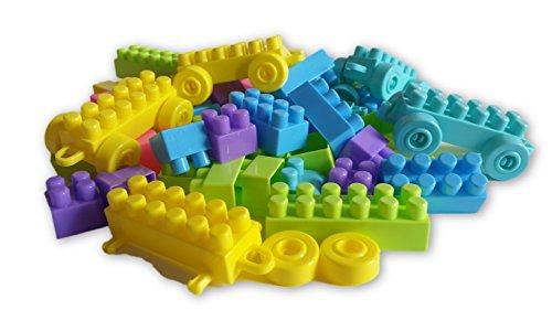 Building Blocks 100 Piece Interlocking Plastic Educational Learning Bricks Toy Set Kids Puzzle - I Size Am What Juniors In