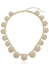 "Napier ""Nantucket"" Gold-Tone and White Adjustable Collar Necklace, 16"""