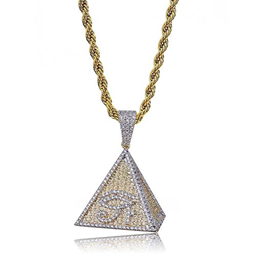 TOPGRILLZ Iced Out Zircon Simulated Diamond Jewish Star of David,Pyramid with The Eye of Horus Pendant with Stainless Steel Neckalce Hip Hop (Pyramid with The Eye of Horus)
