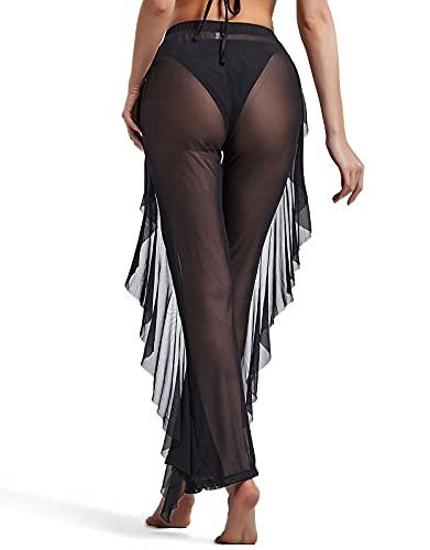 FUPHINE Swimsuit Cover Ups for Women's Pants, Beach Sexy Perspective Trousers,Swimwear Women's See Through High Waist Bikini, Sheer Mesh Ruffle Bottom (Party/Bathing Room) Black