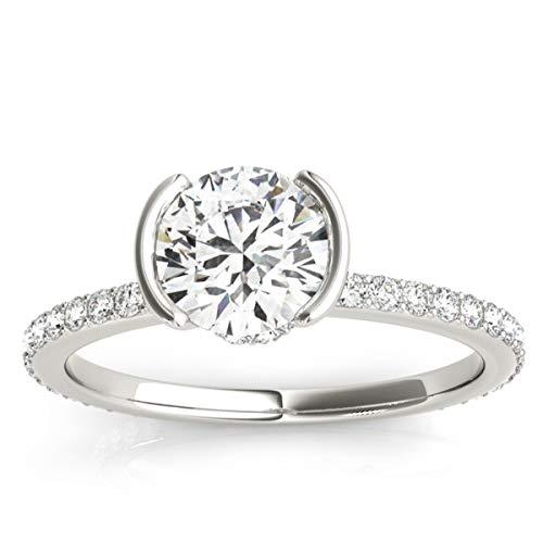 (0.30ct) Platinum Semi-Bezel Diamond Engagement Ring Setting ()