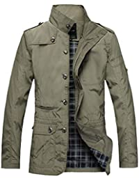 Men's Single Breasted Zip-Up Thick Jacket Stand Collar Outwear Trench Coat