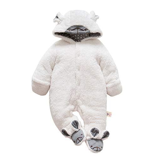 Mornyray Toddler Baby Unisex Thick Fleece Romper Outwear Animal Costume Snowsuit Size 59(0-3M) (White Lamb) ()