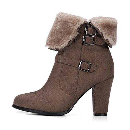 VB Short Boots Shoes Round Head Rough heel Big size Belt Buckle Plush Khaki HcuGJ4NPj