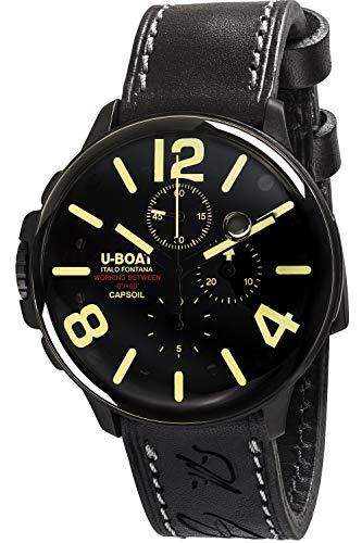 U-boat capsoil Chrono DLC Mens Analog Swiss Quartz Watch with Leather Bracelet 8109
