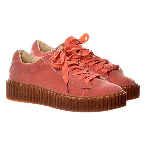 Suede Rampicante Onlineshoe Grigio Stringate Donna Piattaforma Rosa Shoes rosa Piatto PqvrXSwtxv