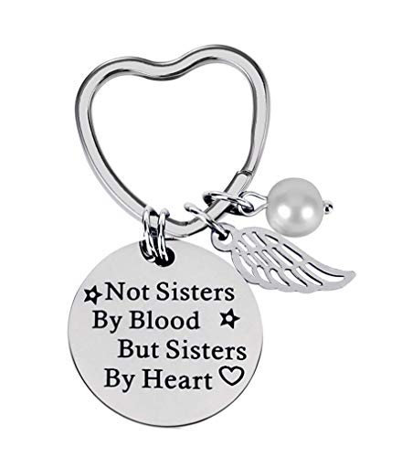 Floranea Keychain Best Friends Gift Not Sister by Blood but Sister by Heart Silver Pearl 1 Inch Heart Keyring for Women Girls Sister Birthday Christmas Girls Day Graduation Exchange Gift Ideas Present (Cheap Presents For Best Friends)