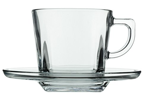 Lecce Squared Clear Glass Tea & Coffee Cups with Saucers, Set of 6 - 7 oz