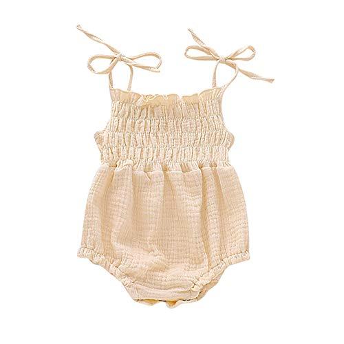 Newborn Infant Baby Girl Cotton Linen Romper Jumpsuit Ruffle Strap Halter Bodysuit Outfit Summer Clothes (Beige, 0-3 Months)