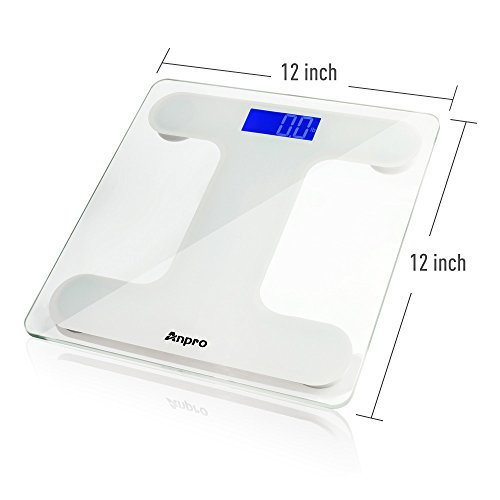 Anpro Digital Body Weight Bathroom Scale and Body Tape Measure Auto-On Technology Digital Body Weight Scale Tempered Glass High Precision Scale with Large LED Display,400 Pounds Capacity