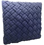 KyraHome Handcrafted 3D Decorative Throw Pillow Covers,Cushion Cases for Sofa, Indigo Color, 1 Pack, Oeko-Tex Certified (18'' x 18'')
