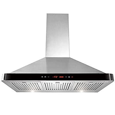 "AKDY 36"" Kitchen Wall Mount Stainless Steel Range Hood AZ-63190D-BK w/ Baffle Filters"