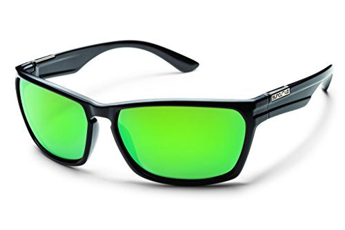 Suncloud Cutout Polarized Sunglass: Black Frame/Green Mirror Polarized Polycarbonate - Out Cut Mirror
