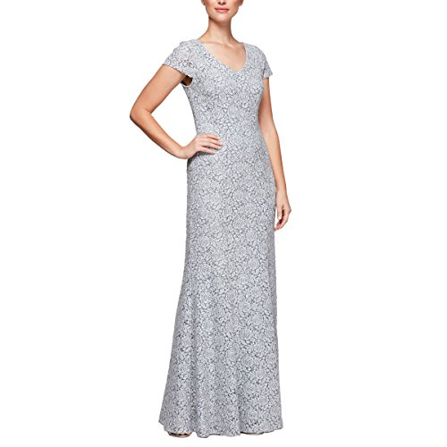 Alex Evenings Women's Long Lace Dress, Blue/White, 16