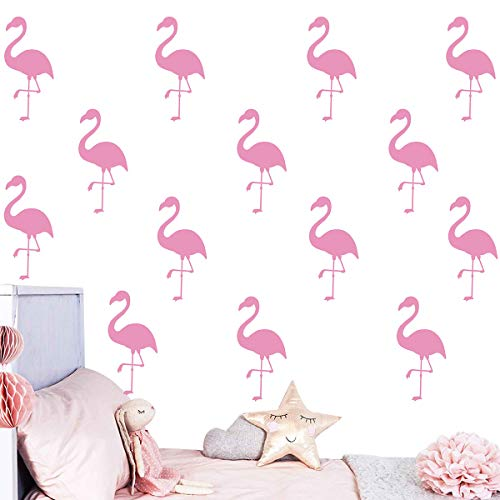 Melissalove 30Pcs Flamingo Wall Decor Stickers Removable Kids Nursery Vinyl Wall Decal Baby Nursery Girl Bedroom Wall Art Wallpaper D364 (Light Pink)