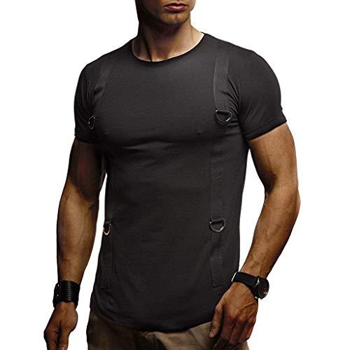 Farmerl Men Summer T-Shirt Short Sleeve Crew Neck Muscle Basic Top Slim Fit Tee Black ()