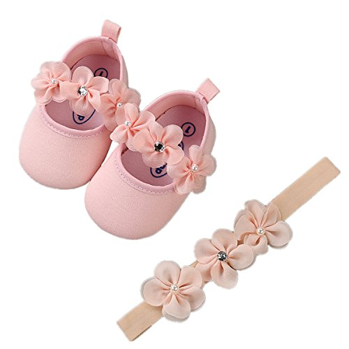 Baby Girls Mary Jane Flats Sparkly Soft Sole Infant Crib Shoes with Headband by RVROVIC (Image #2)