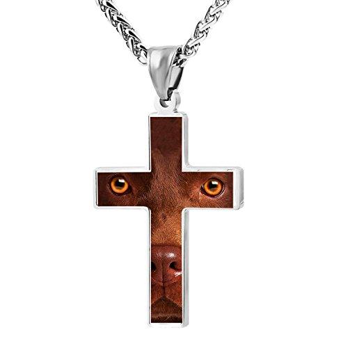 Patriotic Cross Chocolate Lab Face Religious Prayer Jewelry Pendant (Chocolate Lab Costumes)