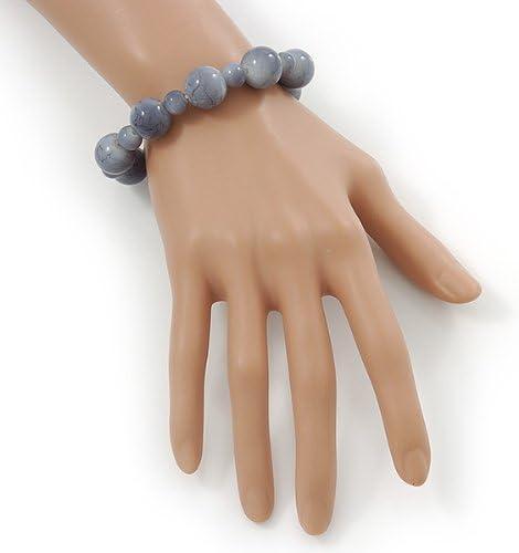 Flex Bracelet /& Drop Earrings Set in Silver Tone Avalaya Light Grey Marble Colour Ceramic Bead Necklace 40cm Length// 5cm Extension