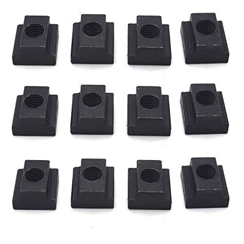(12Pcs Steel T-Slot Nut Grade 8.8 Tapped Through M10 Thread, 15/64-inch Slot Depth, 1/2