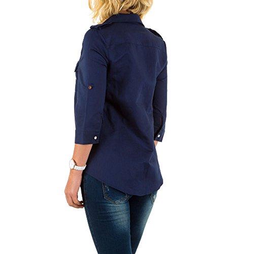 Leinenmischung Hemd Bluse Für Damen , Blau In Gr. S bei Ital-Design