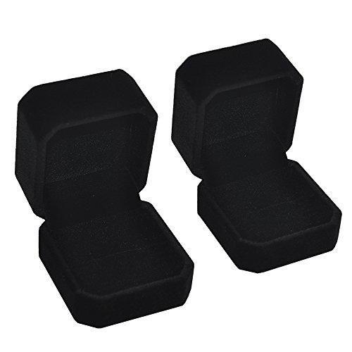(iSuperb Set of 2 Unit Classic Velvet Couple Ring Box Earring Jewelry Case Gift Boxes 2.2x1.9x1.6)