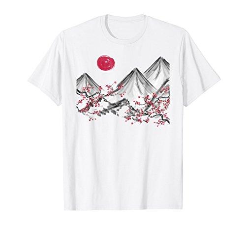 (Red Moon Cherry Blossom, Sakura Japanese Mountains T-Shirt)