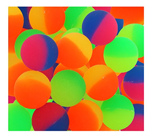 ICY Superballs for Kids Prizes - 1.5 Inches Bright Two Tone Bouncy Balls - Pack of - Balls High Toys Bounce
