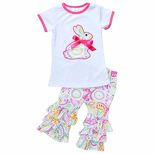 Unique Baby Girls Paisley Easter Bunny Easter Outfit (6/XL, Pink) (Show Girl Outfits)