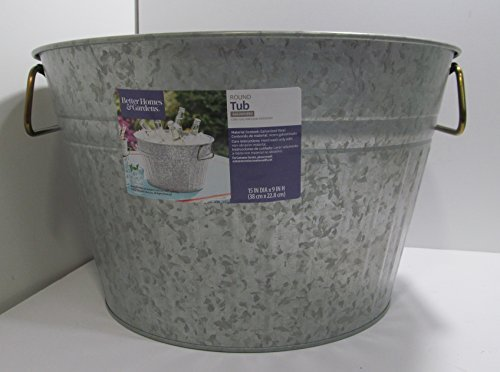 Better Homes and Gardens 15 Inch Galvanized Round Tub with Handles
