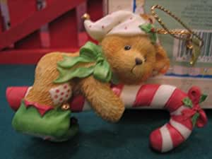 Cherished Teddies - Elf With Candy Cane Hanging Ornament - by ENESCO # 651389