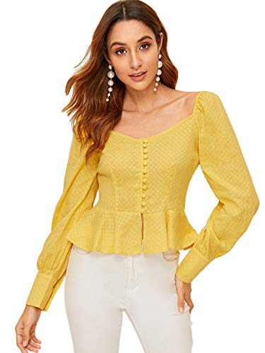 (Romwe Women's Button Front Ruffle Hem Textured Peplum Top Blouse Yellow XS)