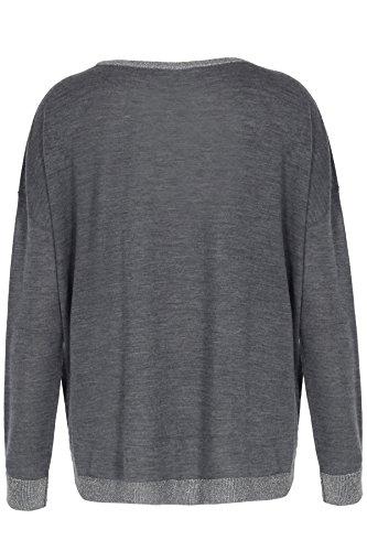 Smilla Damen Pullover mit Rundhalsausschnitt und Lurexdetails, Anthra Grau