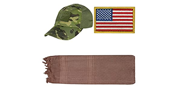 f6648585dc8 Amazon.com   Ultimate Arms Gear Cap Mesh Multicam Tropic + USA Patch Left +  Chocolate Shemagh   Sports   Outdoors