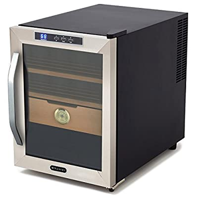 Best Freestanding Thermo-Electric Cigar Humidor Humidifier Storage Box Cooler Set System- This Unit Is For The True Cigar Connoisseur- Beautiful Stand Alone Unit Digital Thermostat Preserves Flavor