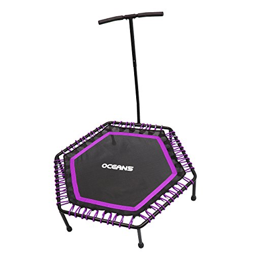 Ocean5 Power Jump 300 Fitness-Trampolin mit Haltegriff, Gesundheitstrampolin, 115 cm Ø, belastbar bis 120 kg, Farbe: lila