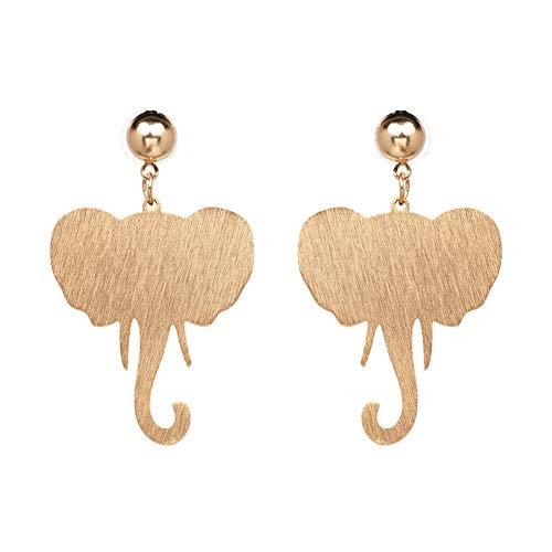 Golden Jasper Earrings - IUTING Golden Earrings Big Vintage Metal Elephant Statement Earrings for Women Wedding Jewelry