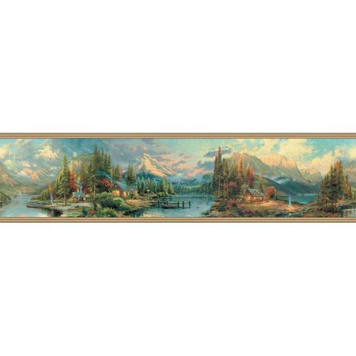 Thomas Kinkade Border (Decorate By Color BC1581958 Earth Tone Scenic Campground)