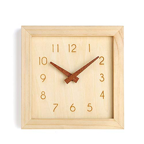 JUSTUP Silent Wall Clock, 8 in Non-Ticking Wood Wall Clock Battery Operated with Sweep Quartz Movement Square Decorative for Kitchen Bedroom Living Room Kids Room (Arabic)