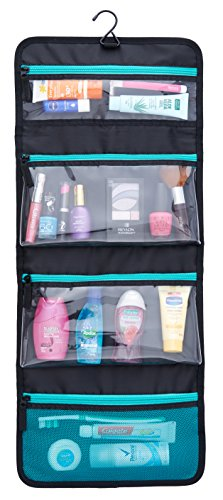 Sea-Breeze Hanging Toiletry Bag (Black with Aqua Zippers and Mesh Pocket)