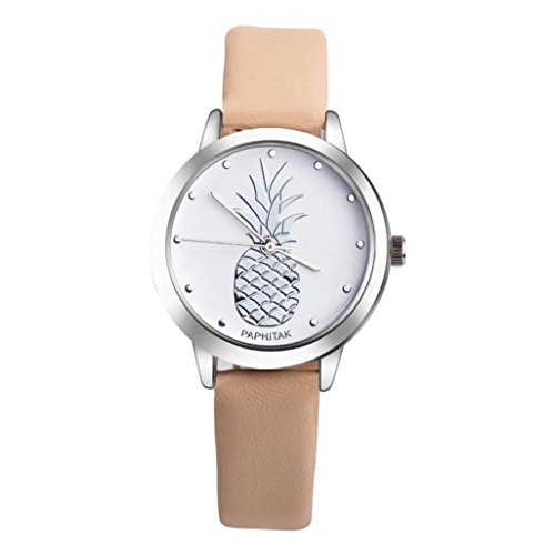 (Hemlock Pineapple Watches, Women Men PU Leather Band Buckle Wrist Watch (Khaki2))