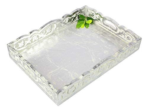 Cotton Craft - Wooden Decorative Serving Tray - Distressed silver finish - Size: 17 x 13 x 2.5 Inches - Intricate detail with hand carving creates a truly unique furnishing accent
