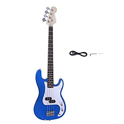 Glarry Electric Bass Guitar Full Size 4 String Rosewood Basswood Fire Style Exquisite Burning Bass