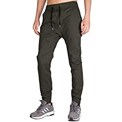 ITALY MORN Men's Chino Jogger Fashion Casual Pants S Dark Grey Green