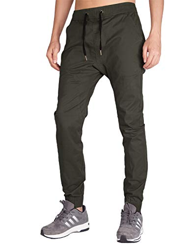 ITALY MORN Men's Chino Jogger Pant (XS, Dark Grey Green) ()