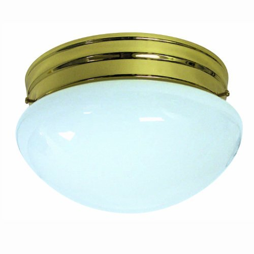 Sunlite HALL8/PB/GU24/2-18/ES 8-Inch Energy Saving Mushroom Ceiling Fixture, Polished Brass Finish with White Glass by Sunlite