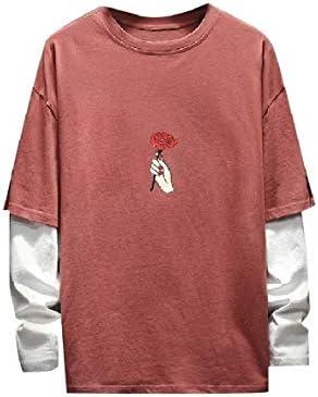 Zimaes-Men False Two Pieces Round Neck Sport Back Cotton T-Shirt Tops