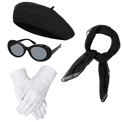 Women Girls French Themed Party Beret Hat Chiffon Scarf Gloves Retro Oval Sunglasses Fancy Dress Costume Accessories Set (Black)]()
